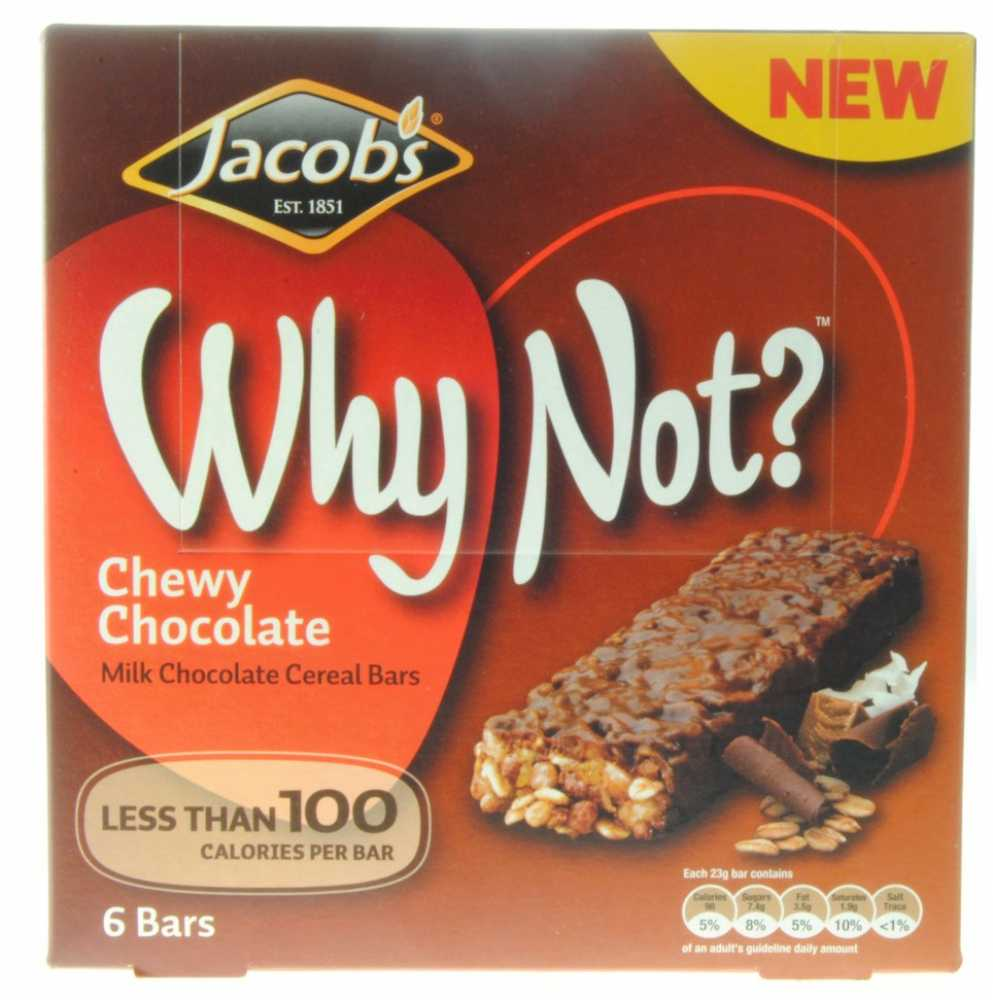 Jacobs Why Not Chewy Chocolate Milk Chocolate Cereal Bars 6 Pack ...